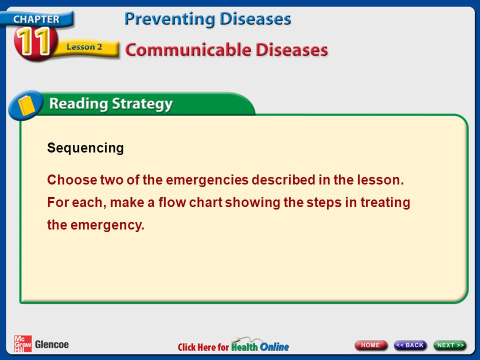 Sequencing Choose two of the emergencies described in the lesson.