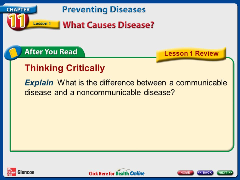 Lesson 1 Review Thinking Critically. Explain What is the difference between a communicable disease and a noncommunicable disease