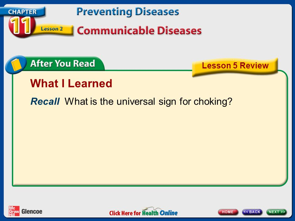 What I Learned Recall What is the universal sign for choking