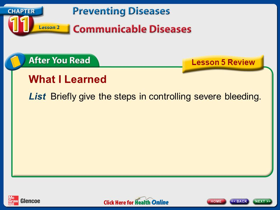 Lesson 5 Review What I Learned. List Briefly give the steps in controlling severe bleeding.