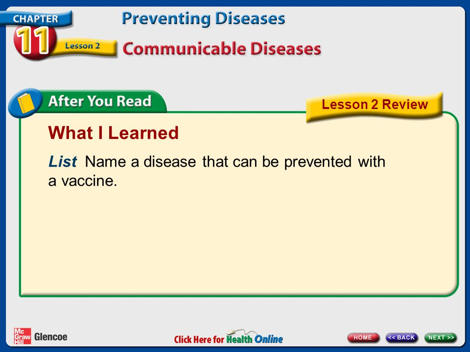 Lesson 2 Review What I Learned. List Name a disease that can be prevented with a vaccine.