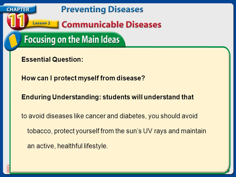 Essential Question: How can I protect myself from disease Enduring Understanding: students will understand that.