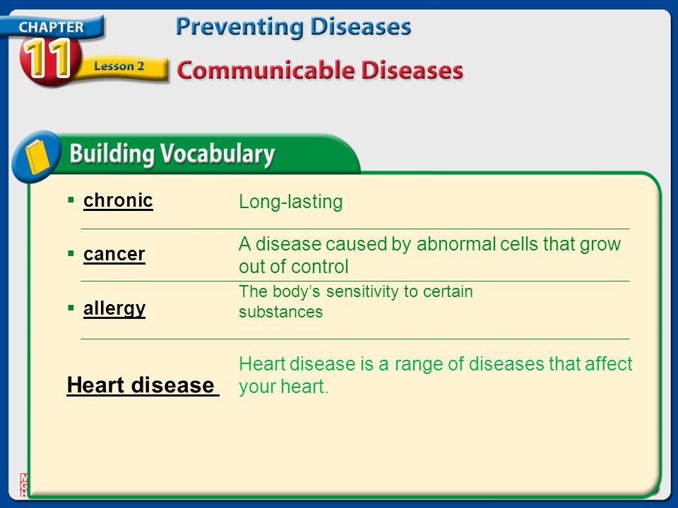 Heart disease chronic Long-lasting cancer allergy