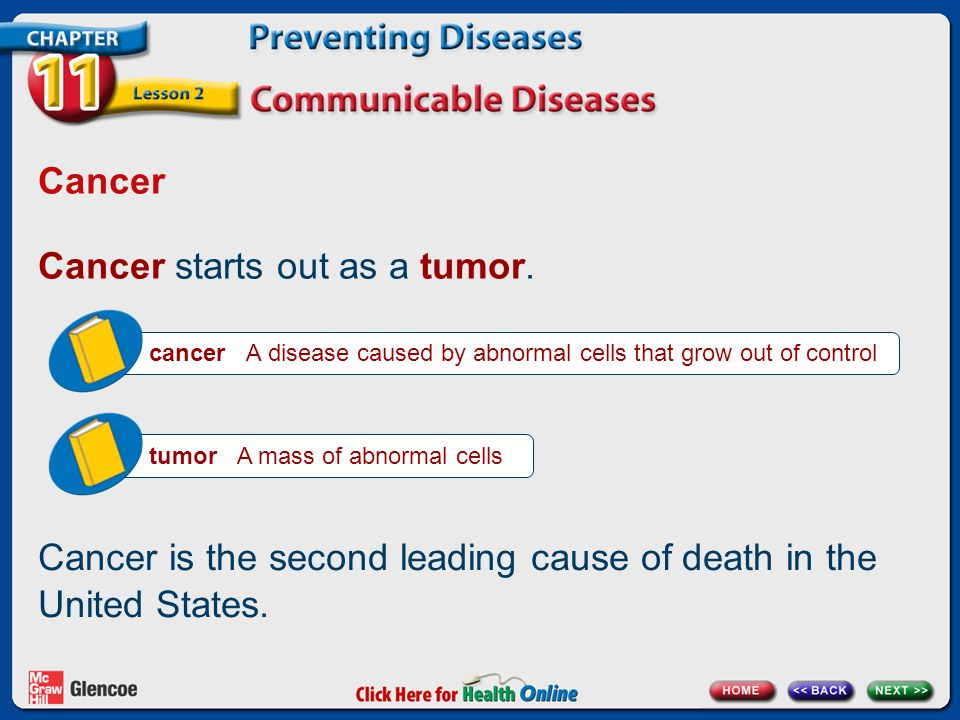 Cancer starts out as a tumor.