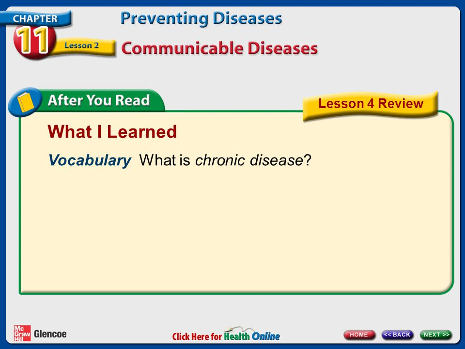 What I Learned Vocabulary What is chronic disease Lesson 4 Review