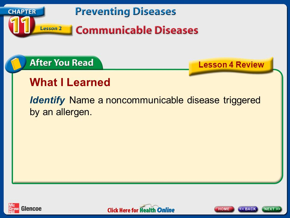 Lesson 4 Review What I Learned. Identify Name a noncommunicable disease triggered by an allergen.