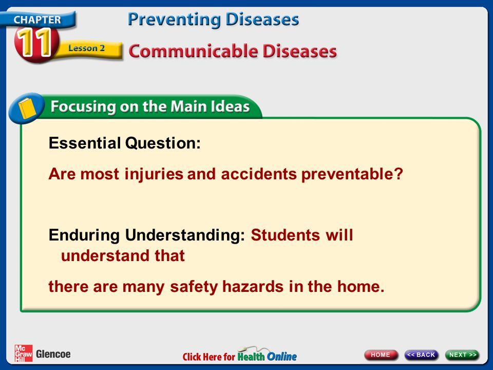 Essential Question: Are most injuries and accidents preventable Enduring Understanding: Students will understand that.