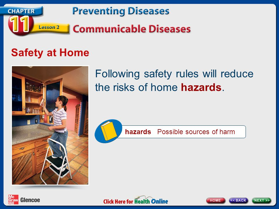 Following safety rules will reduce the risks of home hazards.