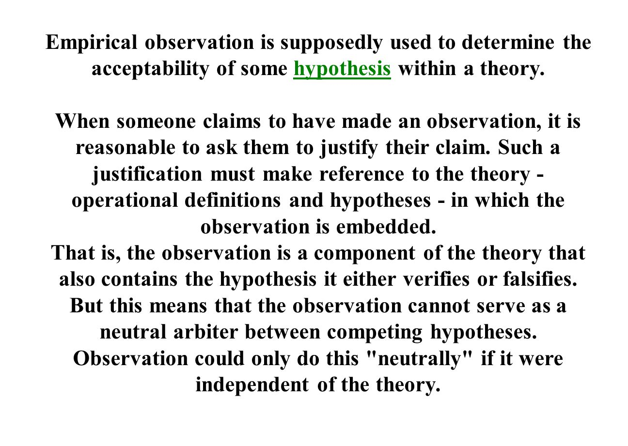 Empirical observation is supposedly used to determine the acceptability of some hypothesis within a theory.