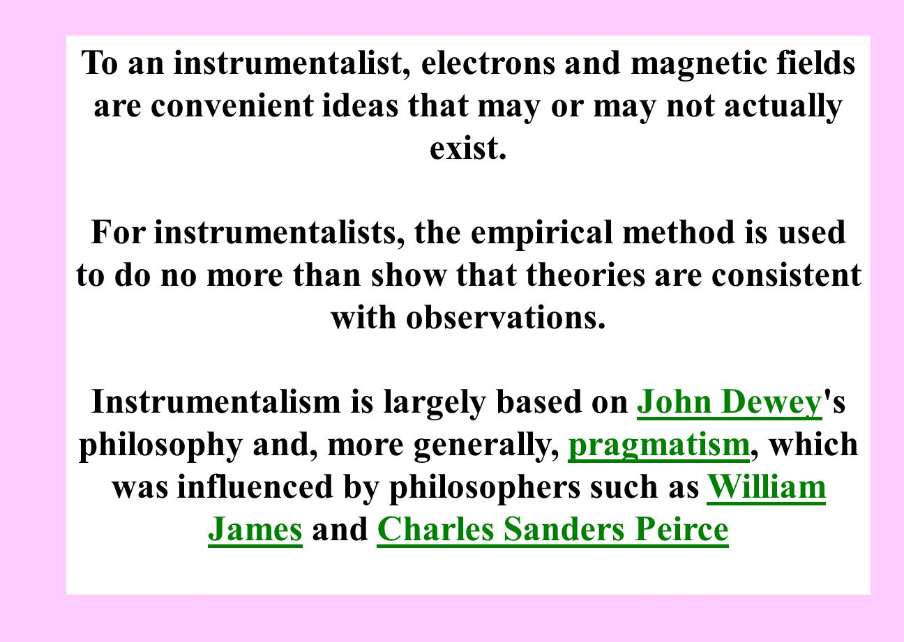 To an instrumentalist, electrons and magnetic fields are convenient ideas that may or may not actually exist.