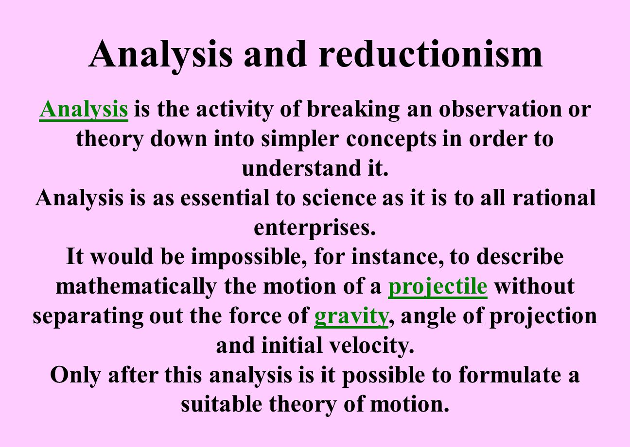 Analysis and reductionism