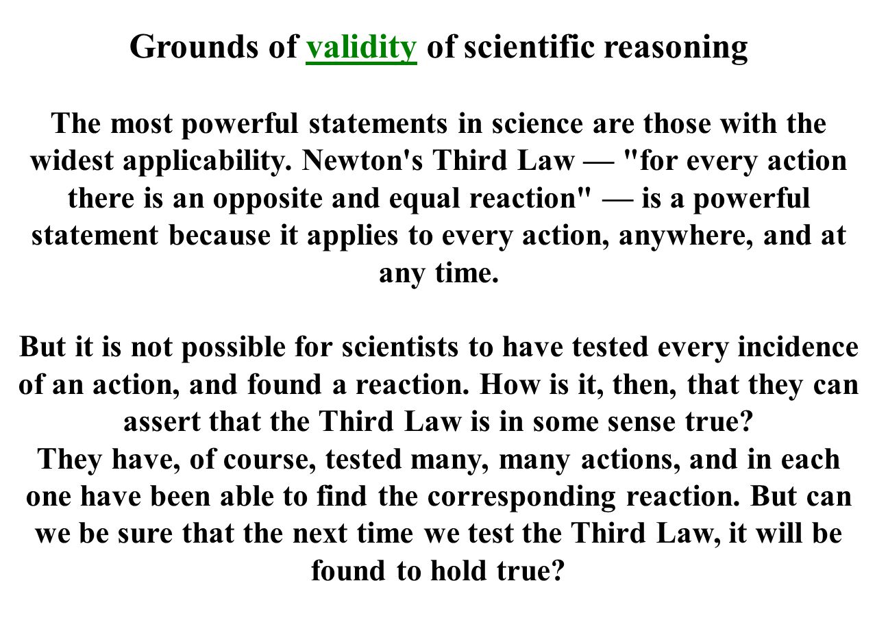 Grounds of validity of scientific reasoning