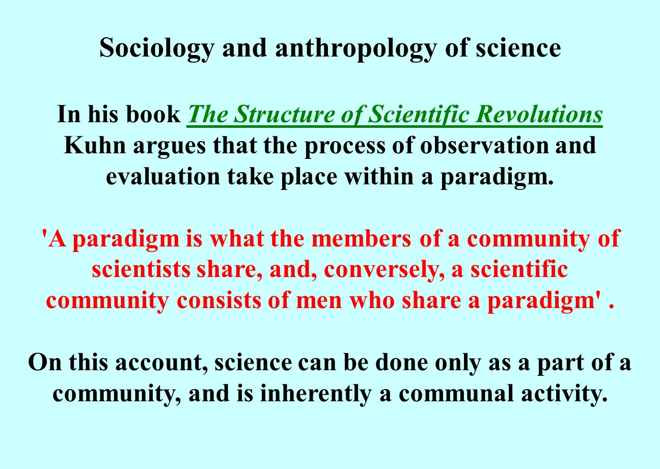 Sociology and anthropology of science
