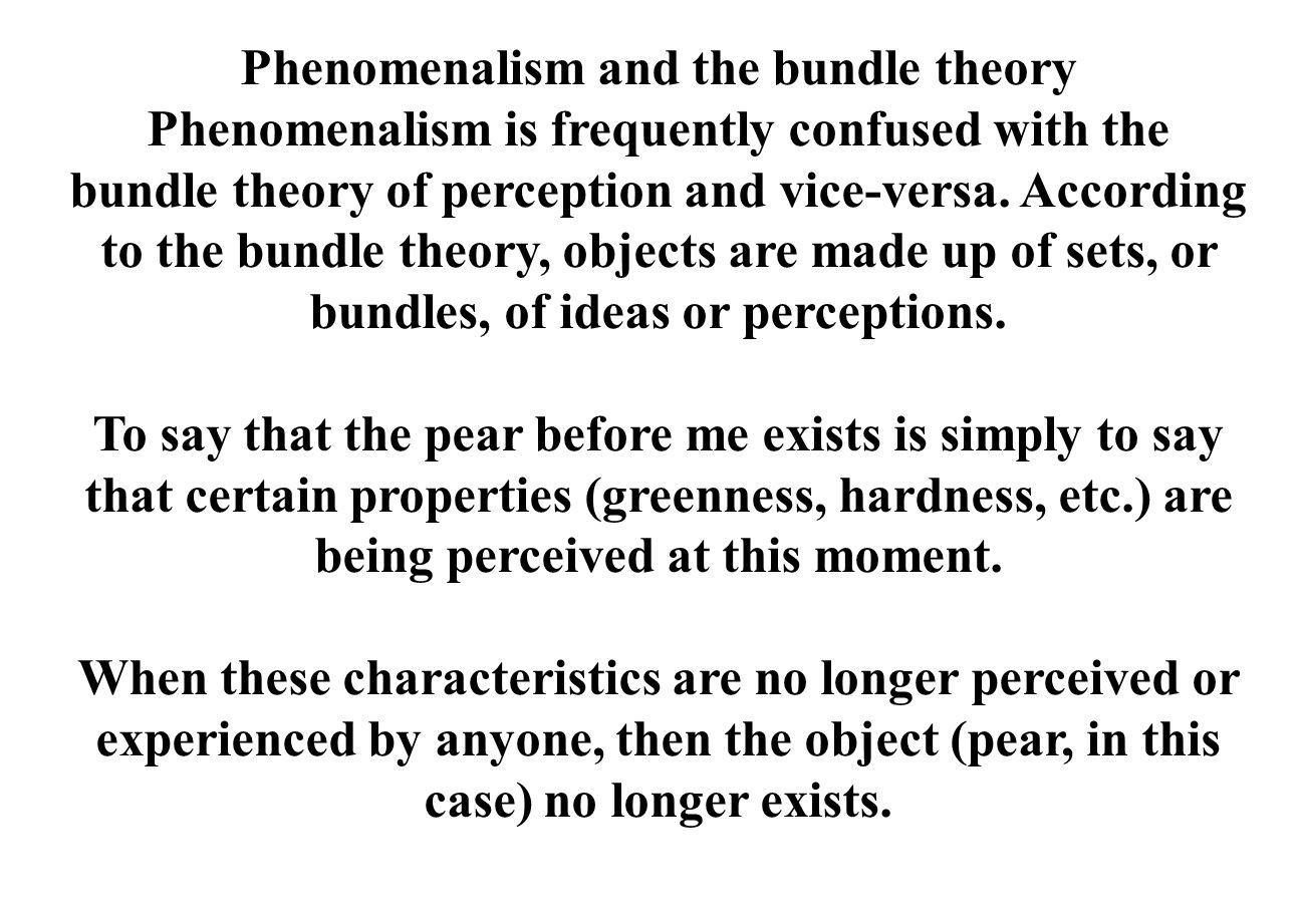 Phenomenalism and the bundle theory