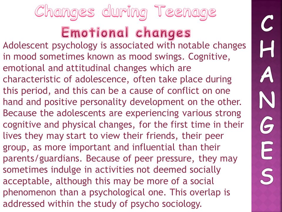 Changes during Teenage