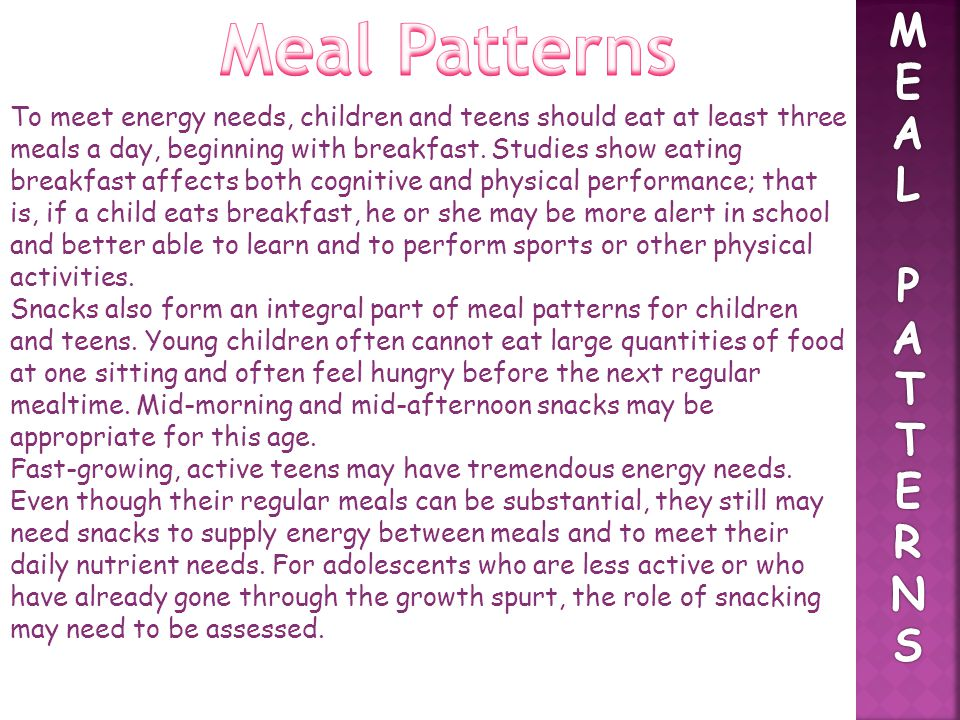 Meal Patterns M E A L P T R N S