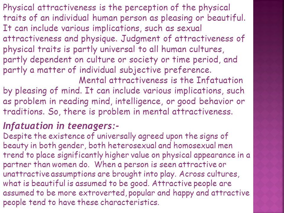 Infatuation in teenagers:-