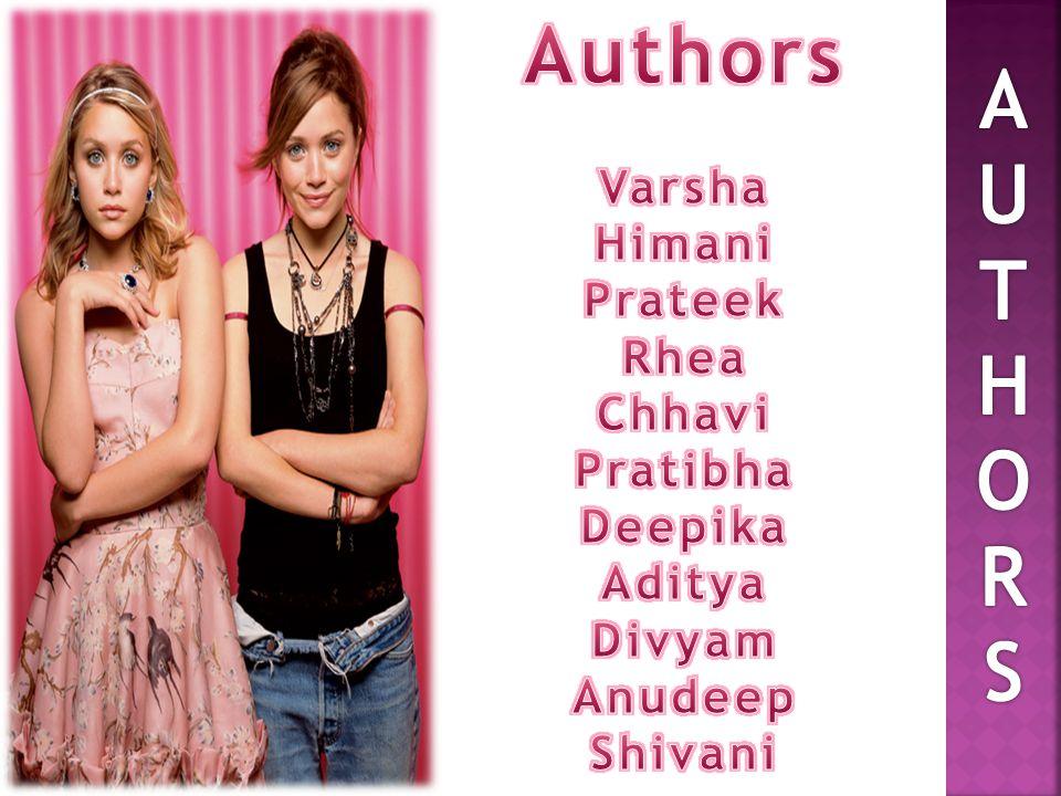 Authors A U T H O R S Varsha Himani Prateek Rhea Chhavi Pratibha