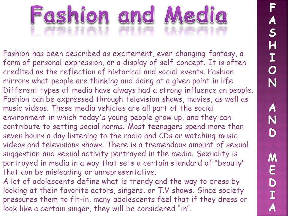 Fashion and Media F A S H I O N D M E