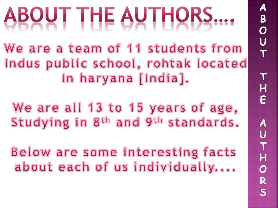 About the authors…. We are a team of 11 students from