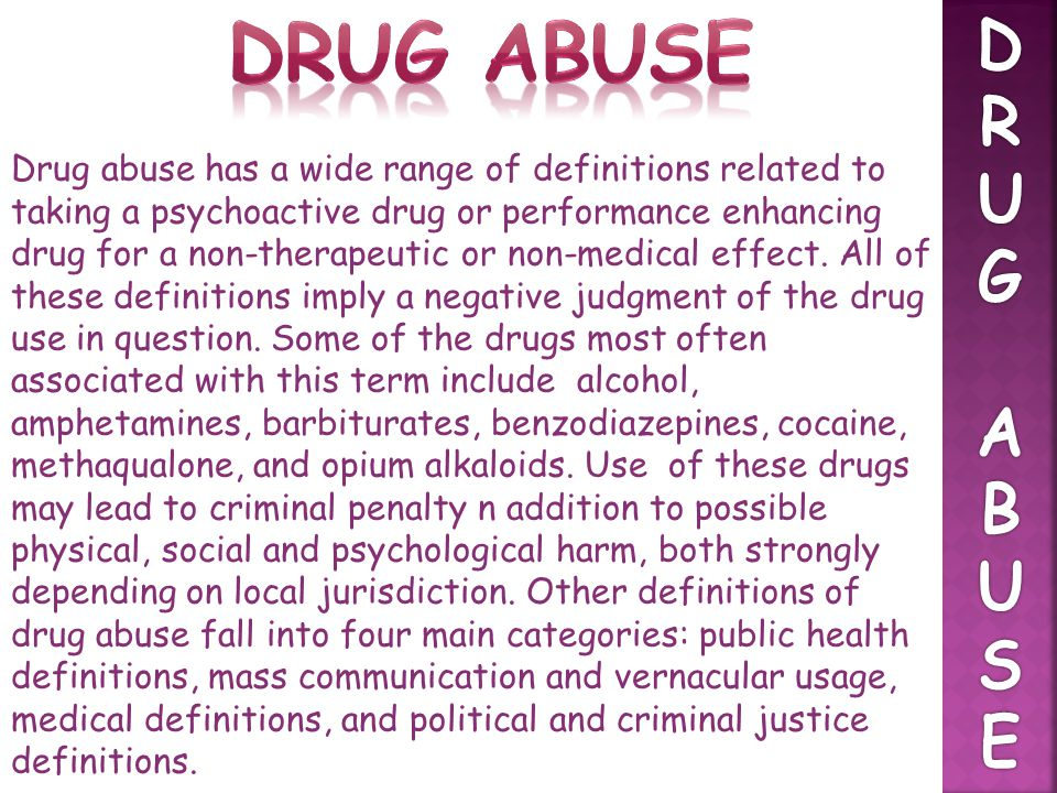 Drug abuse D. R. U. G. A. B. S. E.