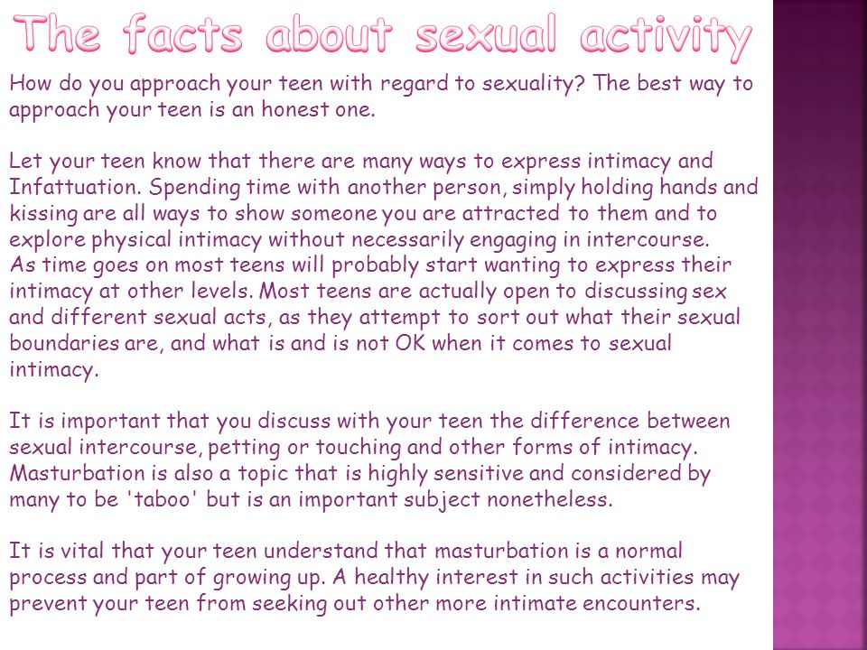 The facts about sexual activity