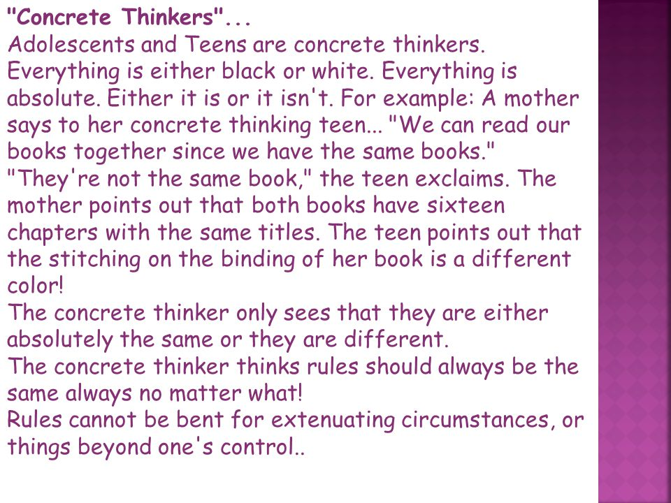 Concrete Thinkers ...