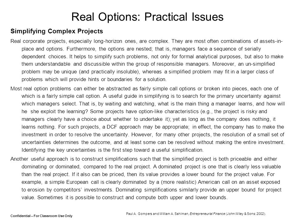 Real Options: Practical Issues