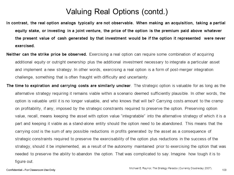Valuing Real Options (contd.)