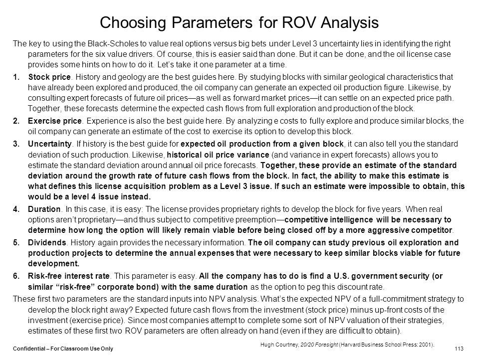 Choosing Parameters for ROV Analysis