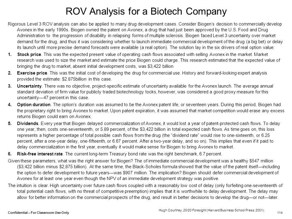ROV Analysis for a Biotech Company
