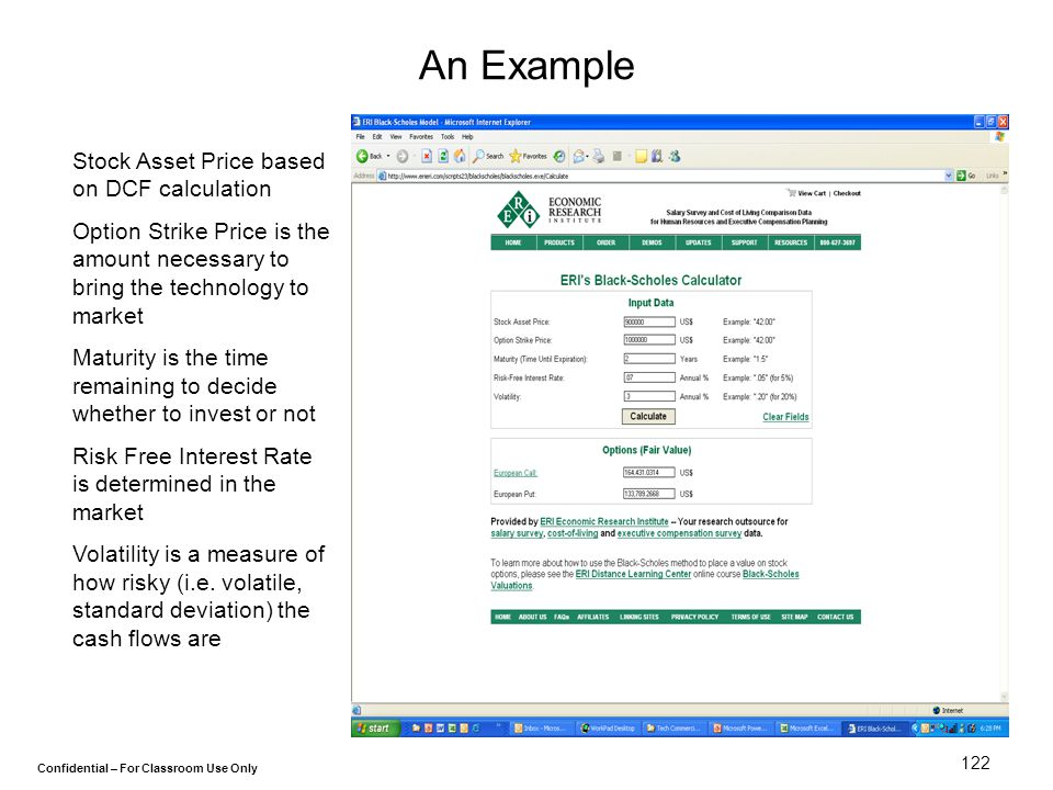 An Example Stock Asset Price based on DCF calculation