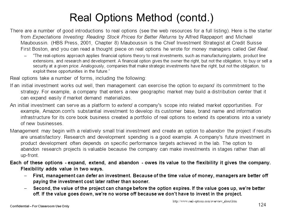 Real Options Method (contd.)