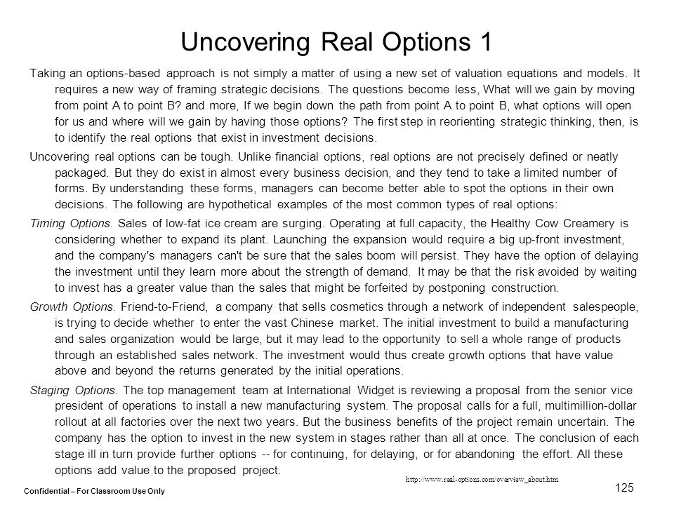 Uncovering Real Options 1