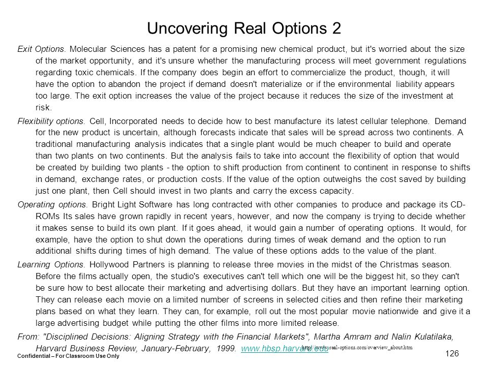 Uncovering Real Options 2
