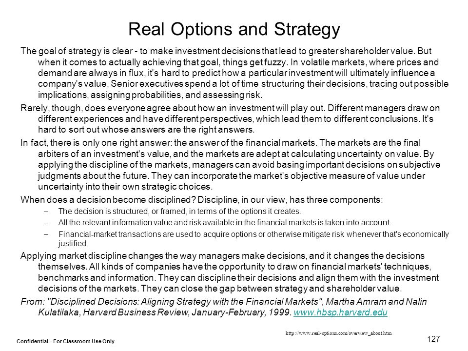 Real Options and Strategy