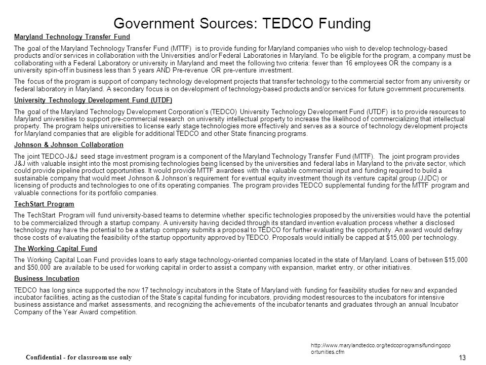 Government Sources: TEDCO Funding