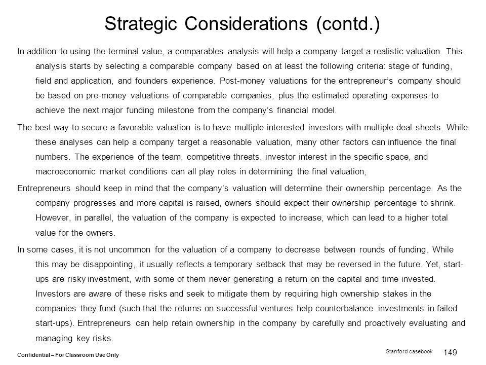 Strategic Considerations (contd.)