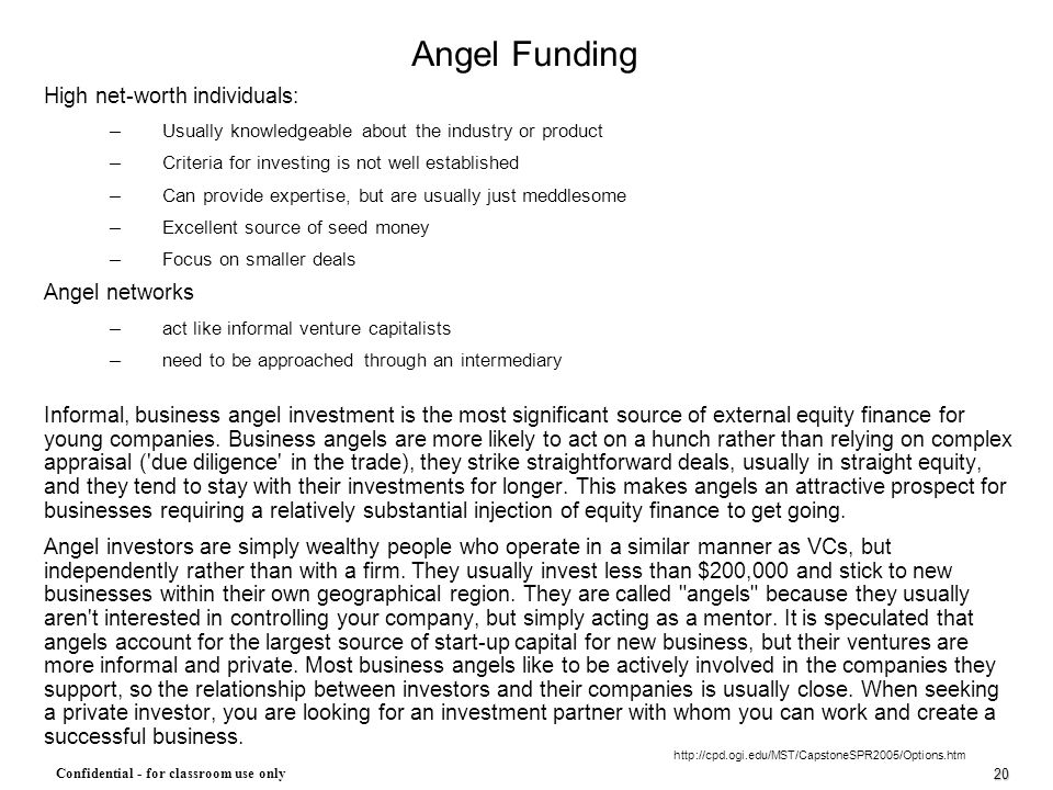 Angel Funding High net-worth individuals: Angel networks