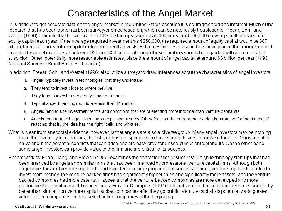Characteristics of the Angel Market