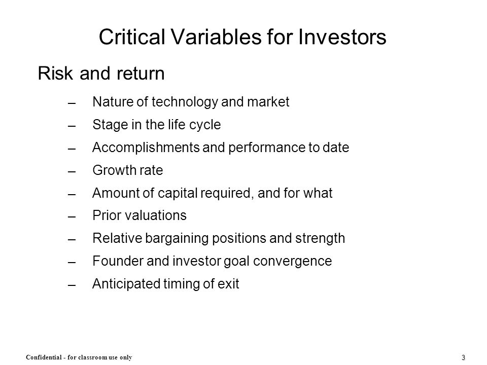 Critical Variables for Investors