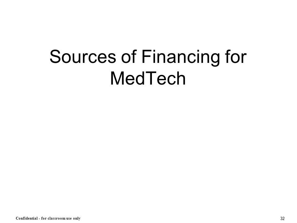 Sources of Financing for MedTech