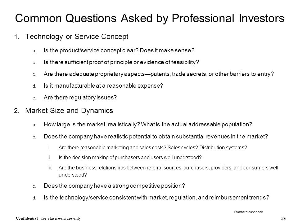 Common Questions Asked by Professional Investors