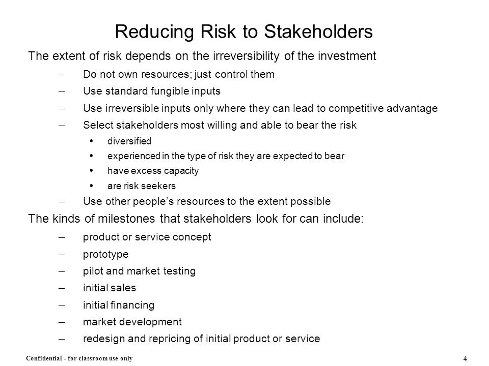 Reducing Risk to Stakeholders