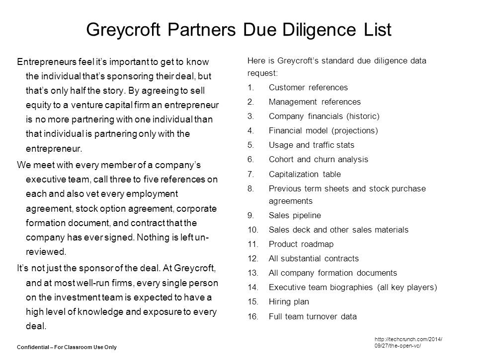 Greycroft Partners Due Diligence List