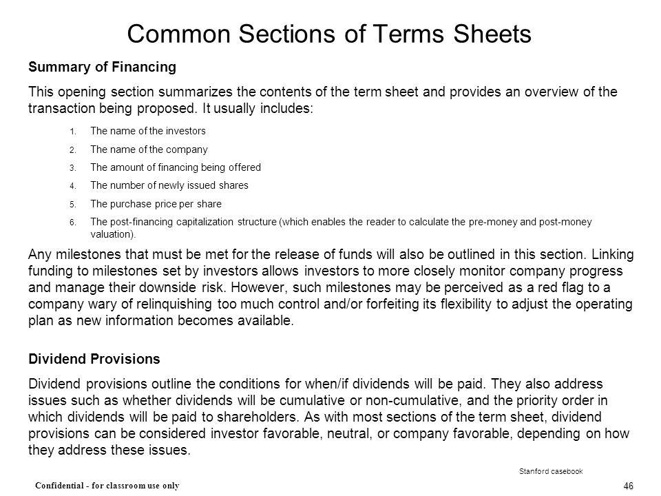 Common Sections of Terms Sheets