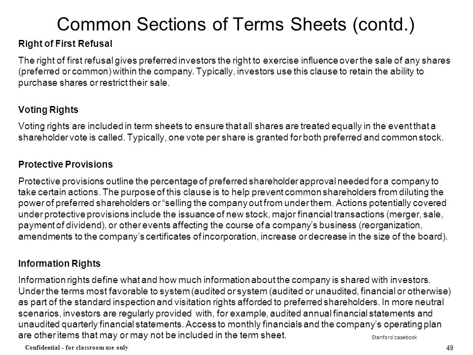 Common Sections of Terms Sheets (contd.)