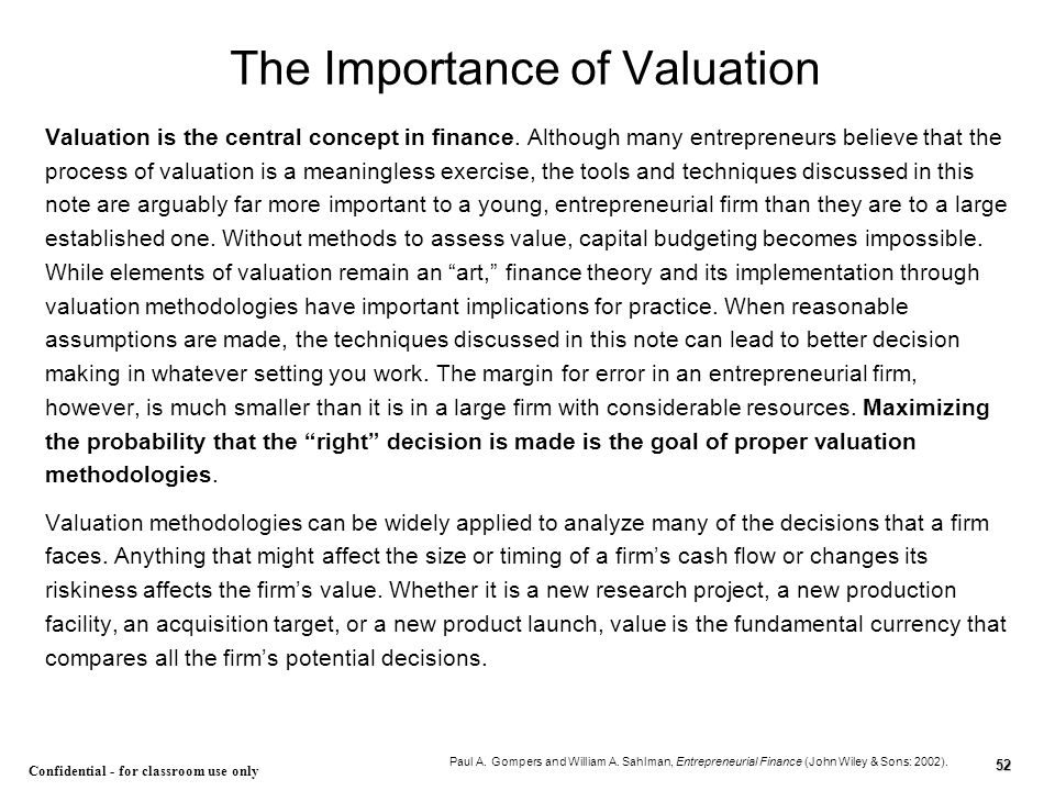 The Importance of Valuation