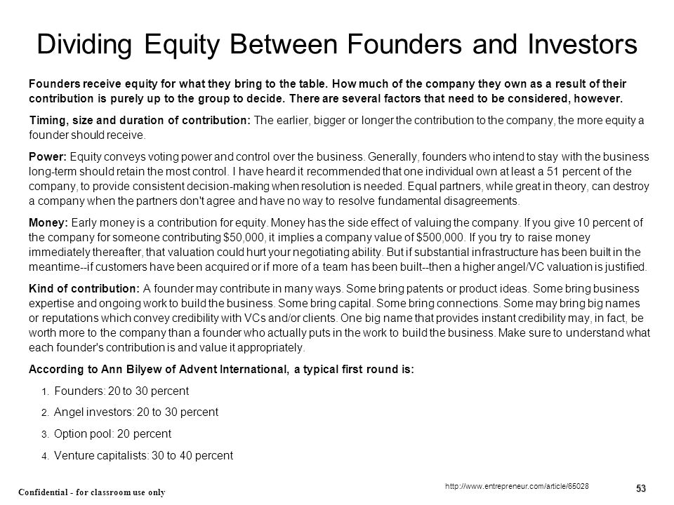 Dividing Equity Between Founders and Investors