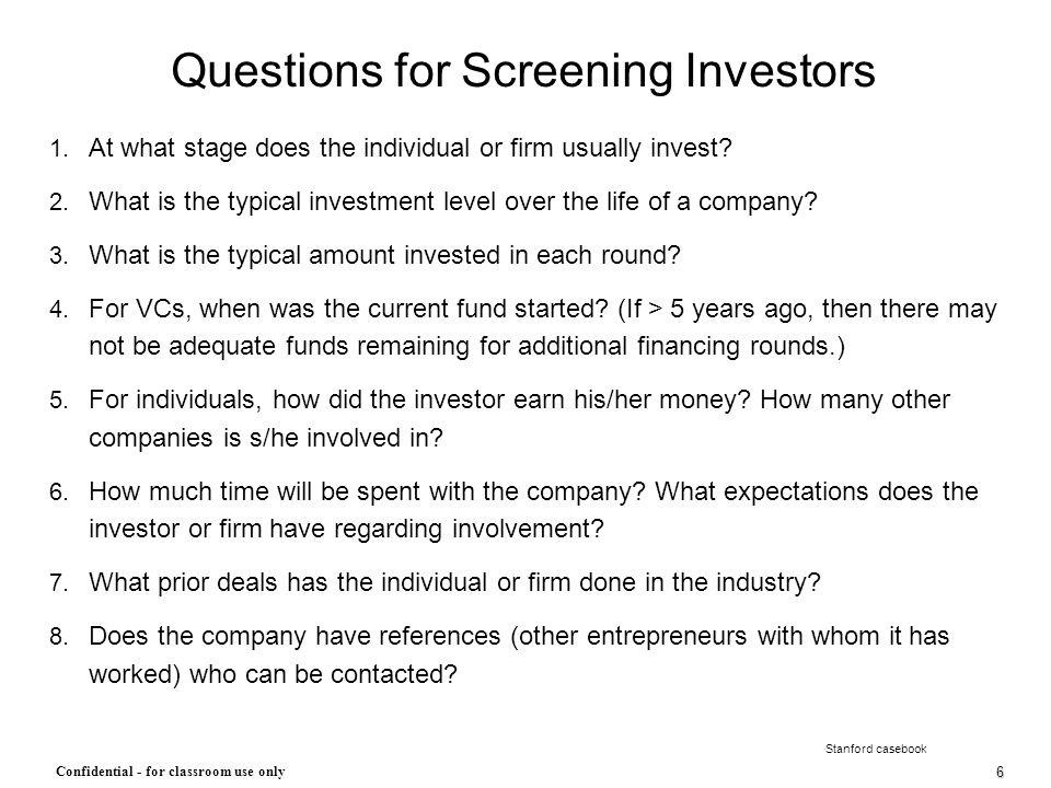 Questions for Screening Investors
